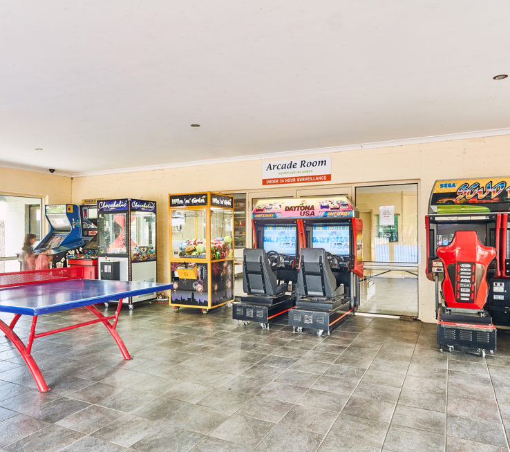 Games room with arcade games.